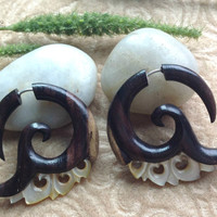 """Fake Gauge Earrings, """"Vera"""" Sono Wood, Mother of Pearl, Natural, Handcrafted, Tribal"""
