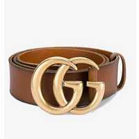 GG classic double G letter men's and women's smooth buckle belt