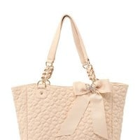Betsey Johnson - Ivory Quilted Love Tote