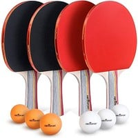 Ping Pong Paddle & Table Tennis Set - Pack of 4 with 6 Table Tennis Balls