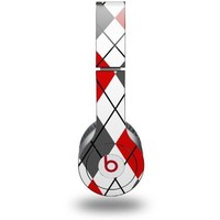 Argyle Red and Gray Decal Style Skin - fits genuine Beats Solo HD Headphones (HEADPHONES NOT INCLUDED)