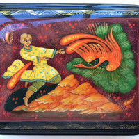 """Original Russian Palekh hand painted lacquer box """"Fier burning Bird""""signed by artist item papier mache, egg tempera, lacquer box"""