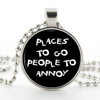 Humor Pendant Necklace  Funny Jewelry  Silver by BazingaJewellery