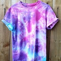 Wonderland Apparel — Blue, Purple and Pink Tie Dye Short Sleeved T-Shirt