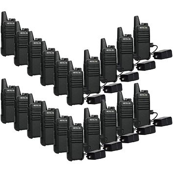 Retevis RT22 Walkie Talkies 20 Pack,Two-Way Radios Rechargeable Long Range, 2 Way Radio, Mini Small VOX Handsfree,for Business Commercial Work School Church Restaurant (Black)