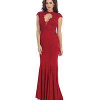 Red Lace Keyhole Sheer Open Back Gown