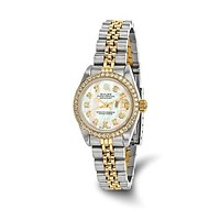 Rolex 18K Diamond and Mother of Pearl PreOwned Luxury Watch