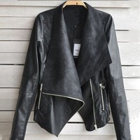 Aokdis Vintage Women Biker Motorcycle Leather Zipper Jacket Coat
