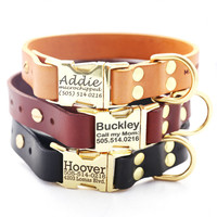 Classic Personalized Leather Dog Collar with Brass Buckle -- 3 colors to choose from