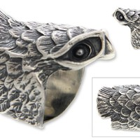 Sterling Silver Cocktail Ring - Owl in Flight | NOVICA