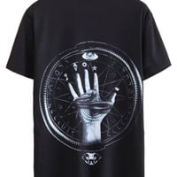 Black 3D Snake In Hand Printed T-shirt
