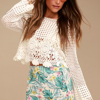 Let's Be Fronds Beige Tropical Print Button-Front Mini Skirt