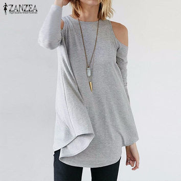 ZANZEA Women Elegant Blusas Tops 2016 Autumn Ladies Sexy Tunic Off Shoulder Long Sleeve Pullover Casual Loose Blouse Shirts