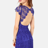 Rubber Ducky Suite Life Backless Royal Blue Lace Dress