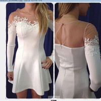 2016 Trending Fashion Lace See-Through Mesh Floral Printed Long Sleeve Round Necked One Piece Dress _ 6997