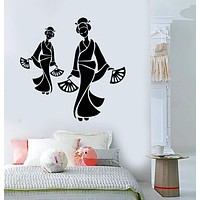 Vinyl Wall Decal Geisha Asian Art Decor Oriental  Woman Stickers Unique Gift (ig3732)