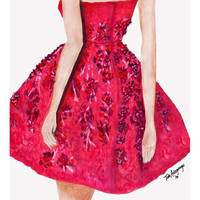 Cherry Blossom Gown Giclee Print from Original Watercolor Fashion Illustration Artwork