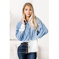 Blue Jean Baby Bleached Denim Button Up Top
