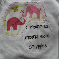 Gay Lesbian Mommies Baby GIrl Cotton Onesuit Bodysuit