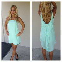 Mint Sleeveless Low Back Bow Dress