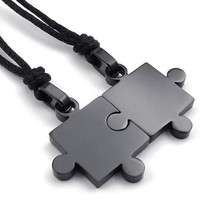 Fashion Jewelry 2pcs Lovers Mens Womens Puzzle Stainless Steel Pendant Love Necklace Set, Couples Valentine's Gift for Him and Her,  Color Black, with 20-22 inch Rope Chain (Size: 2.8 cm, Color: Black) = 5987807297