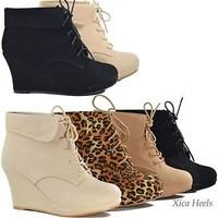 Women's Ankle Boots Wedge Heel Platform Lace Up Booties Black or Beige Shoes New