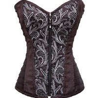 MOONIGHT S-2XL Steampunk Corset Female Print Corsets and Bustiers with Zipper Sexy Corset Women Overbust