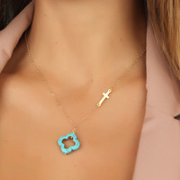 Sideways cross necklace turquoise clover by DeniasTreasures