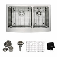 Shop Kraus Handmade 20.75-in x 32.88-in Double-Basin Stainless Steel Apron Front/Farmhouse Residential Kitchen Sink at Lowes.com