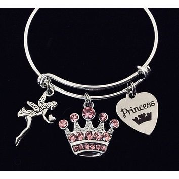 Pink Crown Princess Gift for Girls Expandable Charm Bracelet Kids Size Adjustable to Fit