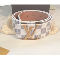 Louis Vuitton LV Classic Trending Woman Men Stylish Smooth Buckle Leather Belt I/A