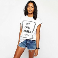 SIMPLE - Popular Fashionable Floral Everyday Wear Short Sleeve Alphabets Words Shirt blouse Top T-shirt b2299