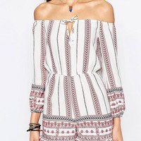 Glamorous Tall | Glamorous Tall Off Shoulder Romper With Panel Embroidery at ASOS