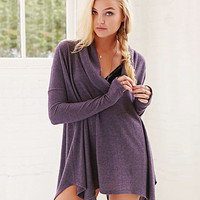Purple Long Sleeve Cowl Neckline Poncho