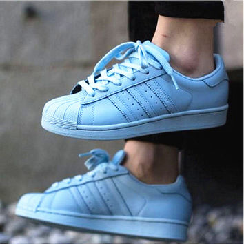 """""""Adidas"""" Fashion Shell-toe Flats Sneakers Sport Shoes Pure color Light blue"""
