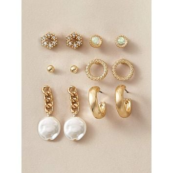 6pairs Faux Pearl & Flower Decor Earrings Set