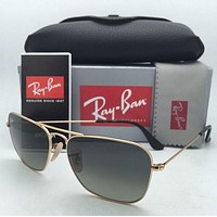 RAY-BAN Sunglasses CARAVAN RB 3136 181/71 58-15 Gold Aviator w/ Grey Fade Lenses