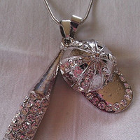 Baseball Necklace with Rhinestone Hat and Bat - snake chain