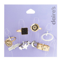 Mixed Metal Stargazer Rings Set of 8