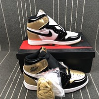 The New Nike Air Jordan 1 Retro Hi Og  Mandarin Duck  Black/Gold  Basketball Sneakers