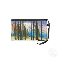Cool japanese winter snow forest Mt Fuji mountain Wristlet Purse from Zazzle.com