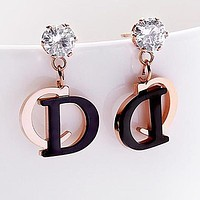 DIOR Women Chic CD Letter Pendant Earrings Accessories Jewelry