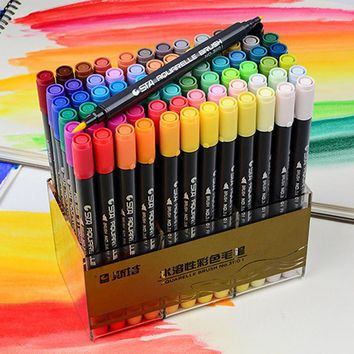 STA Dual Brush Water based Art Marker Pens with Fineliner Tip 12 24 36 48 Color Set Watercolor Soft Markers for Artists Drawing
