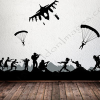 Military zombie, wall decal, video game decal, military wall decal, zombie wall decal, kids wall decal, living room decal, wall stickers