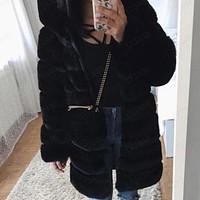 Fashion women's faux fur fox fur long sleeve hooded long fur coat