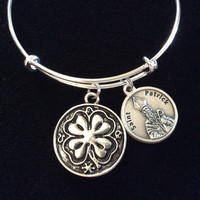 Lucky Saint Patrick Medal Charm with Prayer on Back Silver Expandable Bracelet Inspirational Jewelry Adjustable Silver Wire Bangle Trendy Catholic