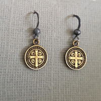 Bronze Old World Cross St Benedict Coin Earrings, Oxidized Silver