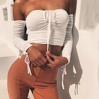 Coolest Off Shoulder Crop Tops Casual Ruched Pleated White T-shirt Women Short Sleeve Cropped Tshirt for Women Clothing