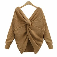 Women Autumn Winter Loose V Neck Twisted Back Sweater Women Jumpers Pullovers Long Sleeve Knitted Sweaters pull femme