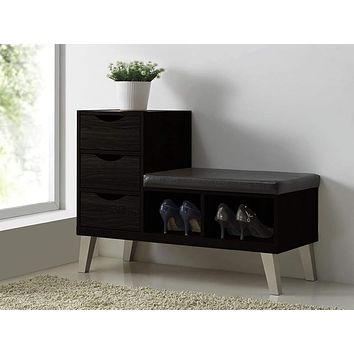 3-drawer Shoe Storage Padded Leatherette Seating Bench with Two Open Shelves By Baxton Studio